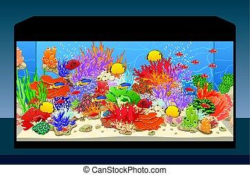 Marine reef saltwater aquarium with fish and corals. Vector...