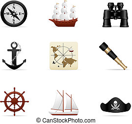marine, reise, ikone, satz