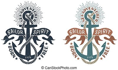 Marine retro emblem in the stamp style