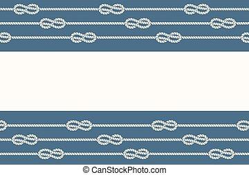 Marine ropes and knots borders frame