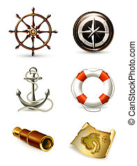 marine, satz, hoch, qualität, heiligenbilder, 10eps