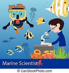 Marine science Vector illustration researcher