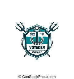 Marine seafarer anchor trident vector icon - Voyager marine...