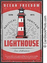 Marine seafarer navigation lighthouse retro poster -...
