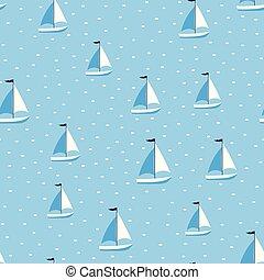 marine seamless pattern cartoon boats