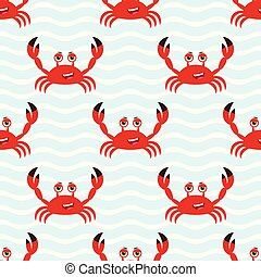 Marine seamless pattern with cute cartoon crab