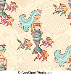 Marine seamless pattern with fish