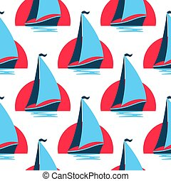 Marine seamless pattern with sailing boat on the waves against the rising sun.