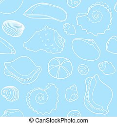 Marine seamless pattern with sea shells