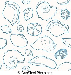 Marine seamless pattern with shells