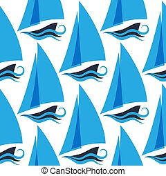 Marine seamless pattern with ships on the waves. Sailboat