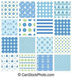marine seamless patterns - Set of marine seamless patterns...
