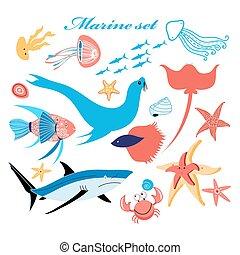 marine set of beautiful fish