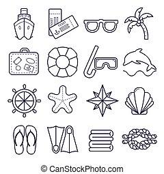 Marine set of icons. Vector icons isolated on white background.