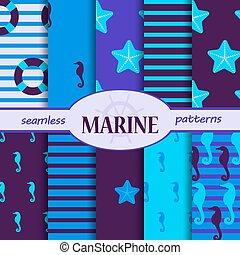 Marine set of seamless patterns