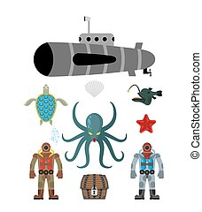 Marine set symbol. Divers and treasure chest. Octopus Cthulhu and submarine. Water turtle and starfish. Underwater inhabitants on a white background. Vector illustration