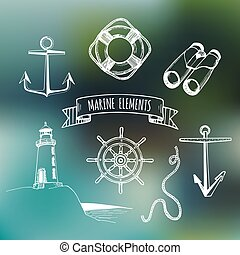 Marine set. Vector nautical elements. Hand sketched sea illustrations. Vintage pirate adventures signs. Maritime design collection. Seaside background. Naval drawing series.