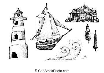 Marine set with a ship, lighthouse, wave, shore with a house. Hand made stock vector illustration for design concepts of tourism, travel, expectations, background, banner.