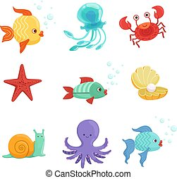 Marine set with underwater plants and sea fishes in cartoon style. Vector illustrations set