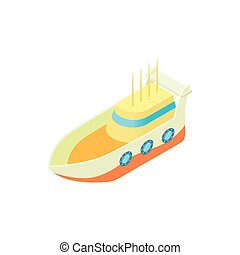 Marine ship icon, cartoon style