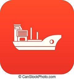 Marine ship icon digital red
