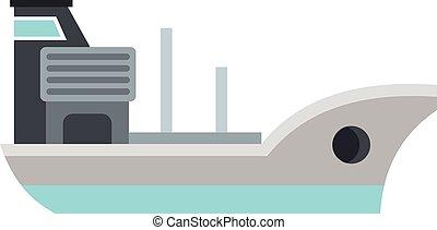 Marine ship icon, flat style