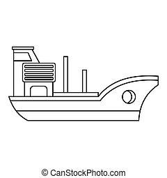 Marine ship icon, outline style