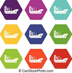 Marine ship icon set color hexahedron