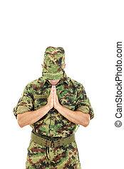 Marine soldier officer praying in military uniform - Marine...