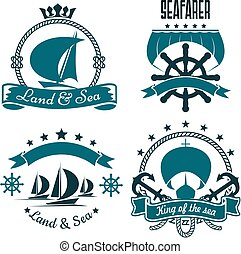 Marine sport, yacht club design with sailing ships