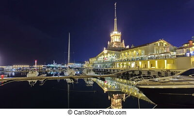 Marine station in Sochi timelapse hyperlapse at night with...