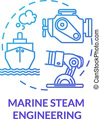 Marine steam engineering blue concept icon. Steering boat. Ship with steam powered engine. Water vessel maintenance idea thin line illustration. Vector isolated outline RGB color drawing
