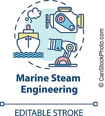 Marine steam engineering concept icon. Steering boat. Ship with steam powered engine. Water vessel maintenance idea thin line illustration. Vector isolated outline RGB color drawing. Editable stroke