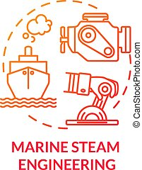 Marine steam engineering red concept icon. Steering boat with engine. Ship with steam powered engine. Water vessel maintenance idea thin line illustration. Vector isolated outline RGB color drawing