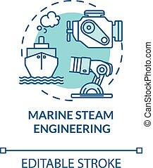 Marine steam engineering turquoise concept icon. Ship with steam powered engine. Water vessel maintenance idea thin line illustration. Vector isolated outline RGB color drawing. Editable stroke