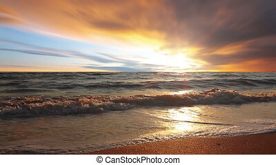 marine sunset - sky, sea, dawn, wave, beach, cloud, sunny,...