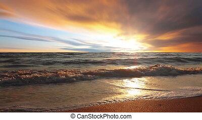 sky, sea, dawn, wave, beach, cloud, sunny, ocean