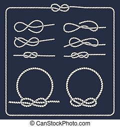 Rope knots collection. Decorative elements. Vector illustration. Marine rope knot. Vector Rope. Set of nautical rope knots, corners and frames.