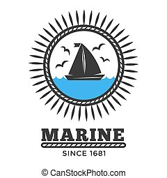 Marine symbol sailboat in sea and gulls isolated icon