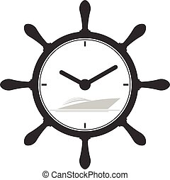marine symbol with yacht and clock symbol