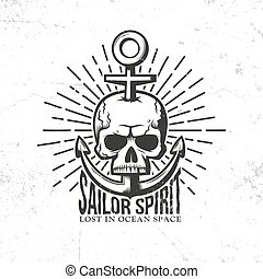 tattoo logo - a skull pierced anchor