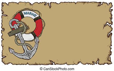 marine theme, old parchment