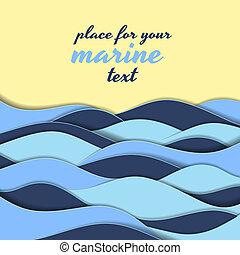 Marine themed background of blue waves