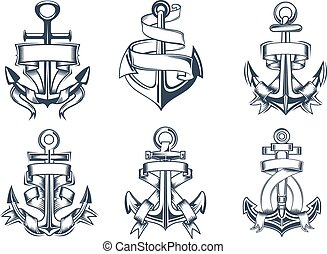 Marine themed ships anchor icons with ribbons - Marine or...