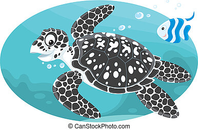 Marine turtle and coral fish - Vector illustration of a...