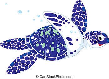 Marine turtle - Vector illustration of a swimming loggerhead...
