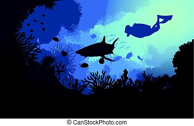 Marine Underwater Flora And Fauna Background