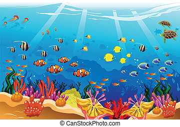 Marine underwater scene - A vector illustration of marine...