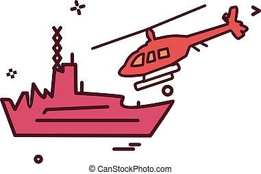 marine, vector, ontwerp, iconen