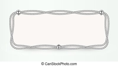 Marine vector Poster background concept. Horizontal banner template design with nautical rope outline and anchor emblem. Frame design template for marketing, media, advertising, card and presentation